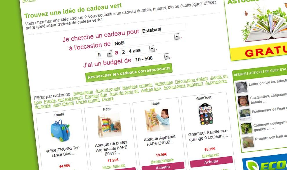 Cherchez des idées de cadeaux «verts»